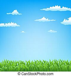 весна, трава, clouds, задний план