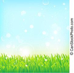 весна, трава, effects, задний план, легкий