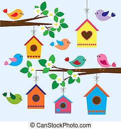 весна, birdhouses