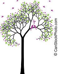 весна, birds, вектор, люблю, дерево