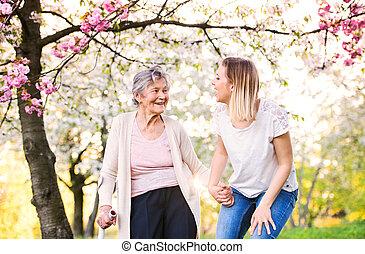 весна, nature., внучка, пожилой, костыль, бабушка