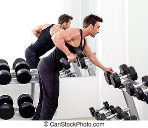 вес, спорт, человек, оборудование, гимнастический зал, обучение