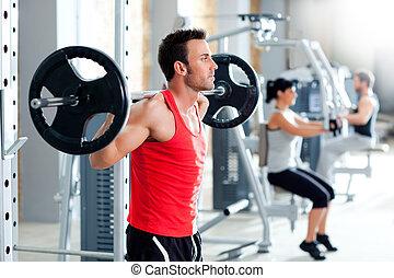 вес, человек, гимнастический зал, оборудование, гантель, обучение