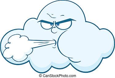 ветер, облако, blowing, лицо