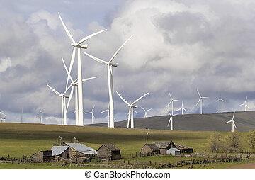 ветер, ферма, вашингтон, крупный рогатый скот, государство, ранчо