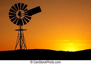 ветряная мельница, закат солнца