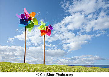 ветряная мельница, концепция, ферма, энергия, игрушка, зеленый, море, ветер