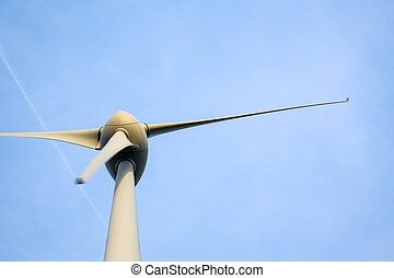 ветряная мельница, синий, небо, против