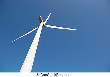 ветряная мельница, синий, энергия, небо, против, ветер
