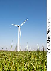 ветряная мельница, энергия, трава, ветер