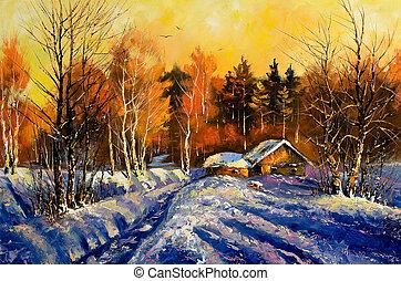 вечер, зима, деревня