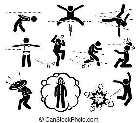 взрыв, пуля, люди, пистолет, evading, прыжки, attack., бомбить