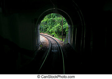 взятый, образ, line., портал, туннель, vista-dome, турист, тренер, железнодорожный