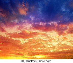 вибрирующий, драматичный, закат солнца, гавайи