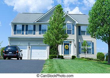 винил, дом, пригородный, один, семья, мэриленд, главная, сайдинг