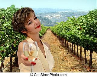виноградник, женщина