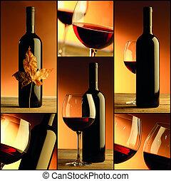 вино, бутылка, вино, коллаж, состав, стакан