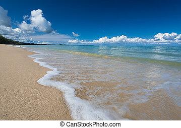 влияние, синий, waves, небо, песок, море, под, плеть, линия, пляж