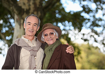 вместе, принятие, пожилой, ходить, лес, пара
