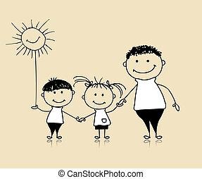 вместе, рисование, счастливый, children, отец, семья, улыбается, эскиз
