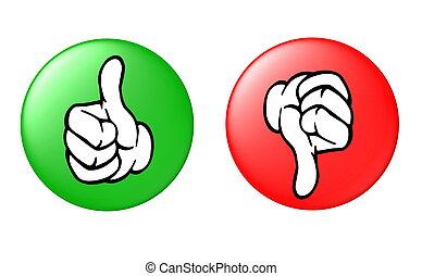 вниз, кнопка, большой палец, вверх