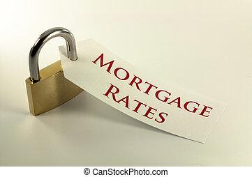 вниз, rates, концепция, запертый, ипотека