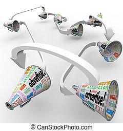 внимание, публичность, продукт, или, terms, бизнес, получить, маркетинг, сообщение, bullhorns, megaphones, другие, слово, многие, such, рекламировать, подача, ваш, вне