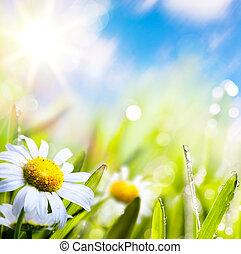 воды, абстрактные, небо, задний план, изобразительное искусство, лето, трава, солнце, цветок, drops