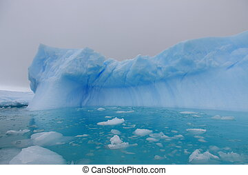 воды, антарктида, айсберг, лазурь