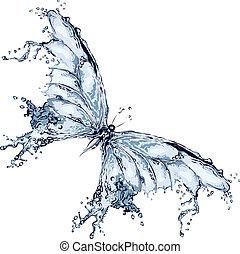 воды, бабочка, всплеск