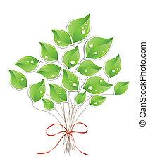 воды, дерево, вектор, droplets., зеленый