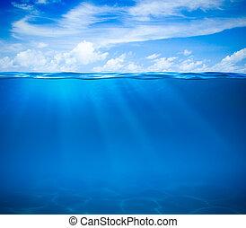 воды, или, подводный, море, океан, поверхность