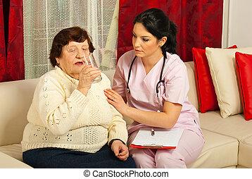 воды, медсестра, помощь, питьевой, пожилой