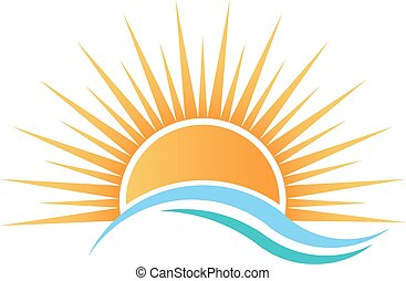 воды, над, солнечный свет, waves.
