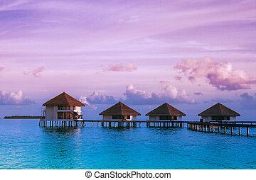 воды, над, bungalows