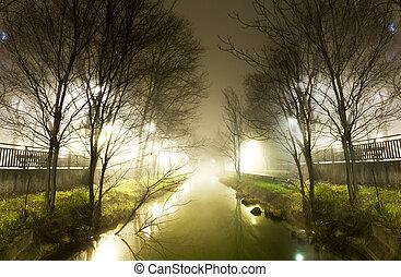 воды, ночь, канал