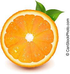 воды, оранжевый, падение, лист, половина