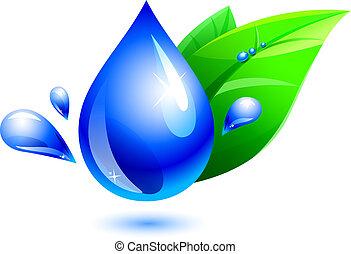 воды, падение, лист