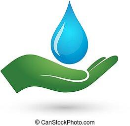 воды, падение, рука