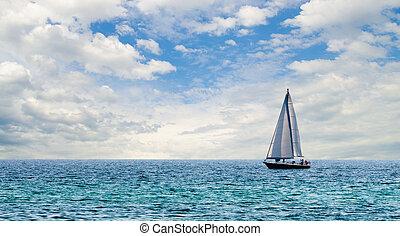 воды, парусная лодка, синий, легкий