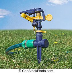 воды, разбрызгиватель, газон