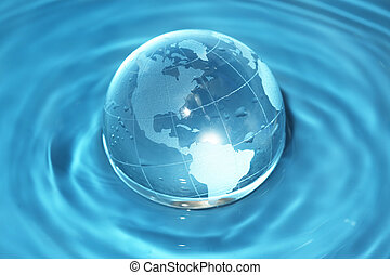 воды, стакан, земной шар