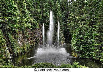 воды, фонтан, парк, hdr