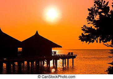 воды, bungalows, закат солнца