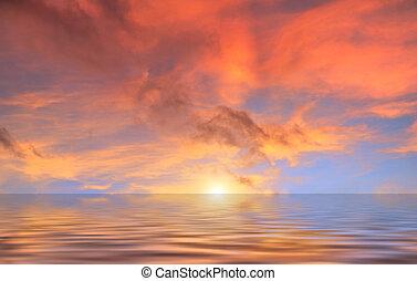 воды, clouds, закат солнца, красный, выше