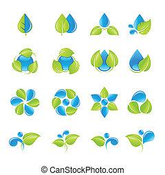 воды, leaves, значок, задавать