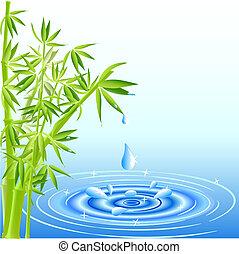 воды, leaves, falling, бамбук, drops