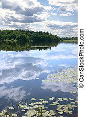 воды, reflexion, небо, гладкий; плавный, поверхность