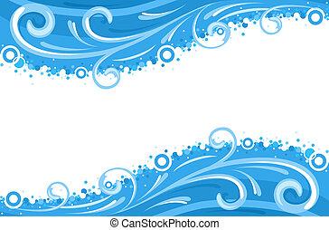 воды, waves, borders