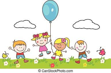 воздушный шар, kids, парк, playing, счастливый